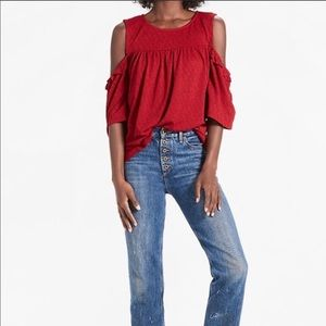 Lucky Brand Red Cold Shoulder Top, size small